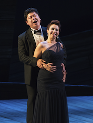 Chong Wang in a breakthrough performance as the Duke with Eliza Bonet as Maddalena in the <em>Rigoletto</em> scene