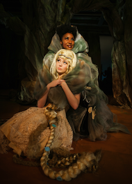 Rapunzel (Noelani Neal) is comforted by the Witch (Safiya Fredericks)