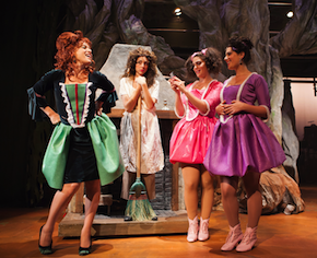 Cinderella's Stepmother (Bekka Fink) taunts Cinderella (Monique Hafen), with stepsisters Lucinda (Lily Drexler) and Florinda (Michelle Drexler) enjoying poor Cindy's abuse Photo by Jessica Palopoli