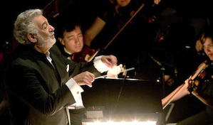 Placido Domingo directs orchestra during the Operalia contest. (Craig Mathew / LA Opera)