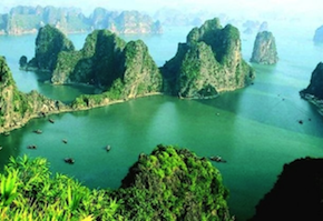 Ha Long Bay's limestone karsts await the singers from Oakland