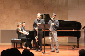 ZOFO (on piano) and Sqwonk (on bass clarinets) pair up pairs at Music Day. photo by Jeff Kaliss