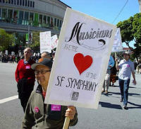 The bad old days of the past: S.F. Symphony musicians picketing Davies Hall in 2013