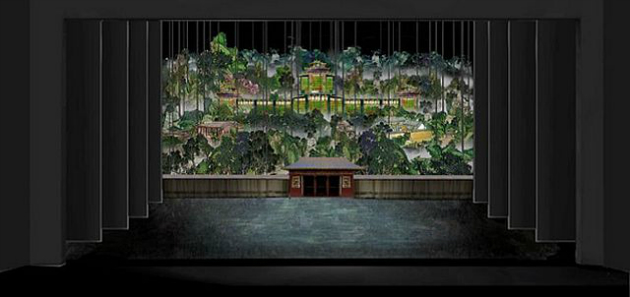 Production design by Tim Yip and projection design by John Wong