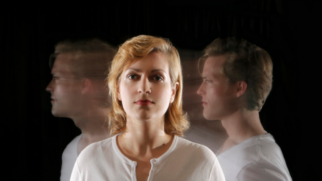 Dan Kempson and Brenda Patterson are Hannah before and after in West Edge Opera's As One.