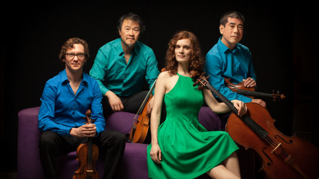 The Del Sol Quartet, left to right: Benjamin Kreith, Charlton Lee, Kathryn Bates, Rick Shinozaki. (photo credit: Matthew Washburn)