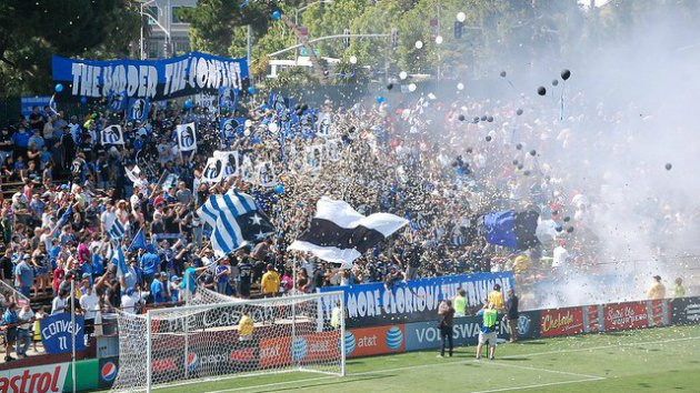 The San Jose Ultras section of a 'Quakes game (Photo courtesy of the San Jose Ultras)