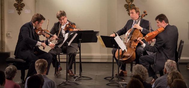 Escher String Quartet: Adam Barnett-Hart, Aaron Boyd, violins; Pierre Lapointe, viola; Brook Speltz, cello (Photo by Carlin Ma)