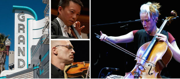 Promotional image for the Open String Grant Concert, featuring Amos Yang, Gilles Colliard, Zoë Keating and others.