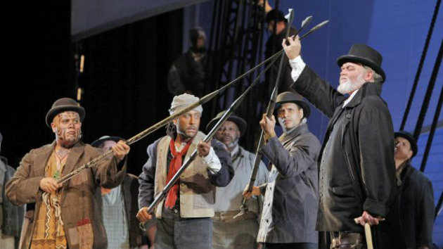 Jay Hunter Morris (Captain Ahab), on the right in the San Francisco production of Heggie's Moby-Dick, will sing the role again in Los Angeles (Photo by Cory Weaver)