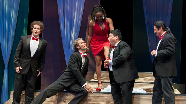 Left to right, Michael Desnoyers (Brighella), Daniel Cilli (Harlequin), Shawnette Sulker (Zerbinetta), José Hernández (Scaramuccio) and Roberto Perlas Gomez (Truffaldino). (Photo by Mike Kirwan for Festival Opera)