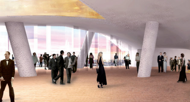 Rendering of the Elbphilharmonie entrance plaza.