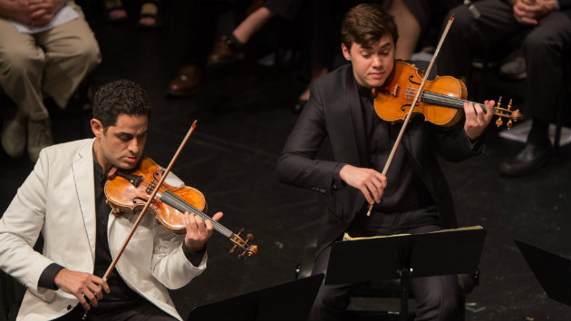 Schubert: Quintet in C Major for Two Violins, Viola, and Two Cellos, op. posth. 163, D. 956 From left: Arnaud Sussmann, violin; Benjamin Beilman, violin (Photo by Carlin Ma)