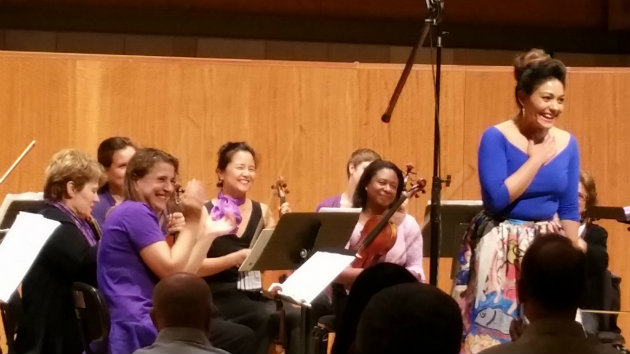 Soprano Ailyn Pérez and the New Century Chamber Orchestra (Photo by Be'eri Moalem)